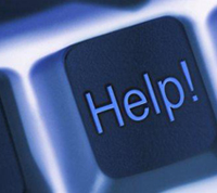 keyboard button that reads 'Help!'